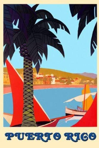 Puerto Rico Beach Ocean Sea Sailboat Travel Tourism Vintage Poster Repro FREE SH