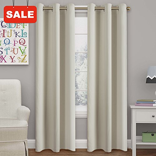 2 Drapes - Turquoize Room Darkening Curtain Panels for Living Room Thermal Insulated Grommet Blackout Draperies/Drapes for Bedroom Window (2 Panels, W42 x L84 -Inch, Beige/Ivory)