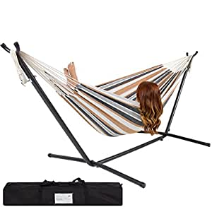 best choice products double hammock with space saving steel stand includes portable carrying case desert amazon     best choice products double hammock with space saving      rh   amazon