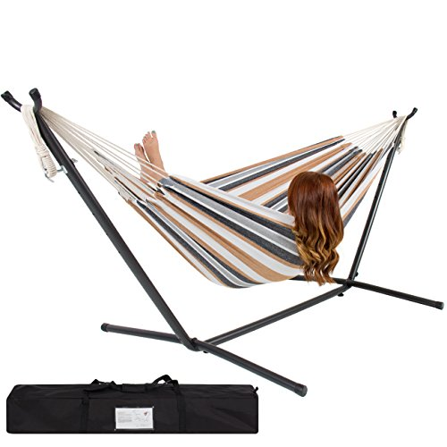 Best Choice Products Double Hammock With Space Saving Steel Stand Includes Portable...