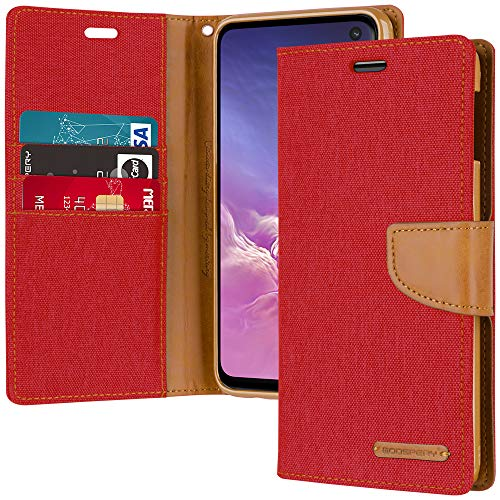 - Galaxy S10e Wallet Case, Goospery Canvas Diary [Denim Material] Stand Flip Cover with Card Holder & Magnetic Closure (Red) S10L-CAN-RED