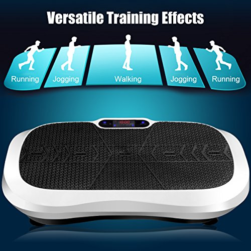 Goplus Fitness Vibration Machine Ultrathin Power Plate Full Body Shape Exercise Machine with Bluetooth Remote Control & Resistance Bands Vibration Workout Trainer (White) by Goplus (Image #4)