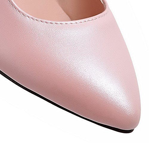 Punta pu tacchi Pompe Charms calzature Pu Rosa Indicò Chiusa Amoonyfashion Con Femminile Solido Inarcamento HqEUOO