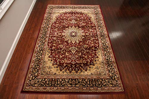 Heriz Persian Wool Area Rug - Feraghan/New City Traditional Isfahan Wool Persian Area Rug, 7'10 x 10'5, Burgundy/Red