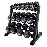 Cheap Gracelove Heavy Duty Dumbbell Rack 3 Tier Level Shelf Weight Gym Shelves Organizer Storage (Black, one size)
