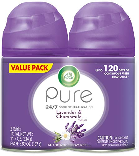Air Wick Pure Freshmatic 2 Refills Automatic Spray, Lavender & Chamomile, 2ct, Air Freshener, Essential Oil, Odor Neutralization, Packaging May -