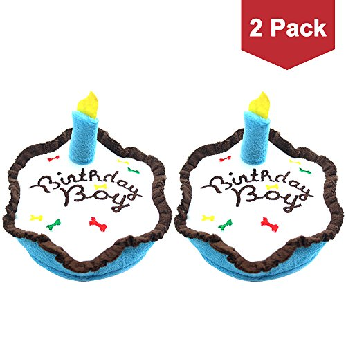 BINGPET Dog Birthday Cake 2 Set Plush Squeaky Toy