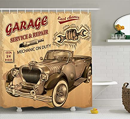 Ambesonne Vintage Decor Shower Curtain Nostalgic Car Figure With Garage Service And Repair Store Phrase Dated Faded Fabric Bathroom Set Hooks
