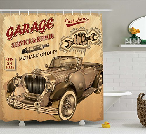 Ambesonne Vintage Decor Shower Curtain, Nostalgic Car Figure with Garage Service and Repair Store Phrase Dated Faded, Fabric Bathroom Decor Set with Hooks, 75 Inches Long, Sepia Red