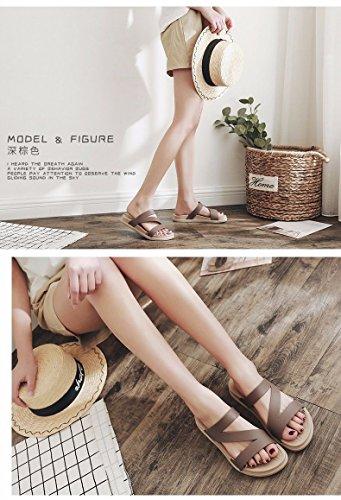 italiana di da Brown moda Nuovi XZ spesso spiaggia nuovi scarpe esterni antiscivolo versione pantofole LIUXINDA coreana trascinando Moda prodotti lady estate pantofole fondo AtqvXIBw