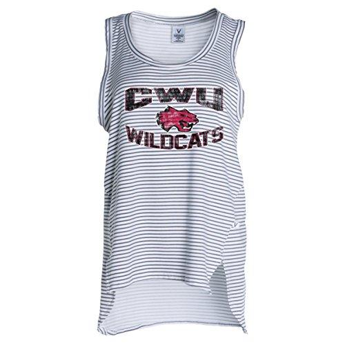 (Official NCAA Central Washington Wildcats CWU Wellington P Wildcat Women's Stripe Ath Lesiure Tank Top )