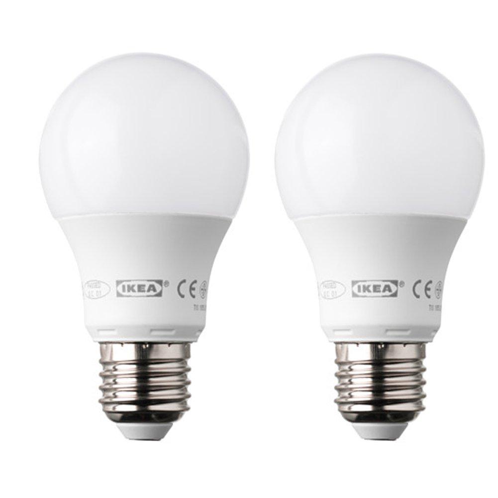 Ikea Ledare - Bombilla LED E27 de forma redonda y 400 lúmenes (2 unidades), color blanco opaco: Amazon.es: Iluminación