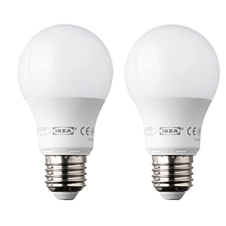 Ikea Ledare - Bombilla LED E27 de forma redonda y 400 lúmenes (2 unidades)