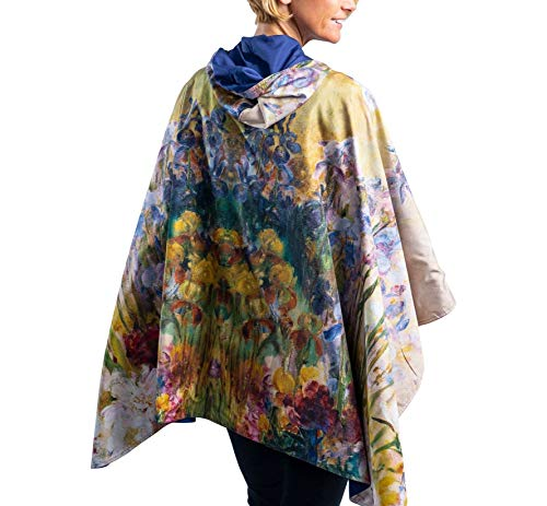 RainCaper Rain Poncho for Women - Reversible Waterproof Hooded Cape in Gorgeous Ultrasoft Colors (Fine Art - Tiffany Peonies and Iris)