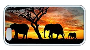 Hipster iphone 5 cover for cheap Elephants Silhouette TPU White for Apple iPhone 5/5S