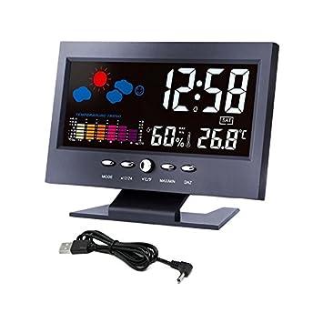 Termómetro digital higrómetro Estación meteorológica Reloj de alarma Indicador de temperatura Colorido Calendario LCD activado por