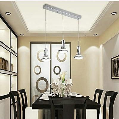 "DINGGUâ""¢ Chrome Finish 3 Lights Contemporary LED Chandelier Pendant Lighting Fixtures for Dinning Room"