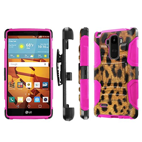LG G Stylo [LS770 H631] Armor Case [NakedShield] [Black/Pink] Heavy Duty Armor [Holster with Kickstand] Phone Case - [Leopard] for LG G Stylo LS770 -  P-LGLS770-1E7-BKHP-CBT-N305