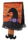 Witch's Hat & Spider Webs Black & Orange Tea Towel with Dangling Legs