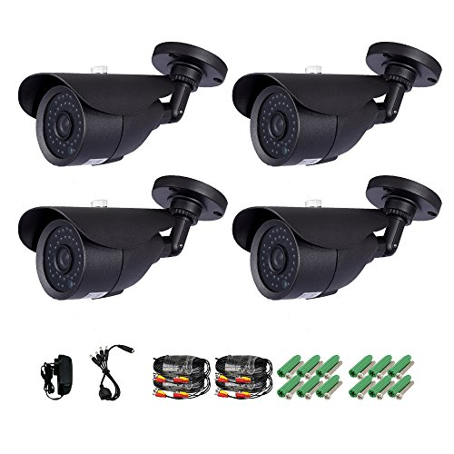 Anlapus 4 Pack 900TVL 960H Outdoor/Indoor 100FT/30M Night Vision Waterproof Weatherproof 36IR Infrared Leds Security Surveillance CCTV Cameras Kit(C18WB4)