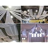 Rouleau 100 Métres Tissu Blanc largeur 150cm,deco salle Mariage (VOILE COTON BLANC)