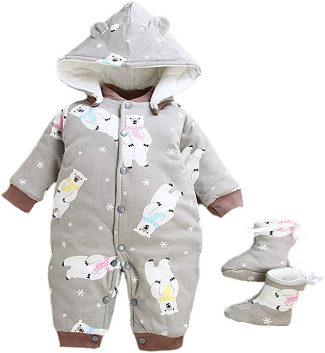 cff8d9206 Kenebo Romper Newborn Baby Boys Girls Thicken Jumpsuits Hoodies ...
