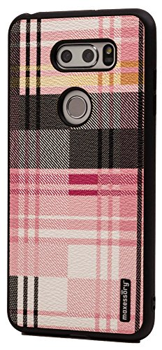 - LG V30 Case, Maxessory Pink Tartan Ultra-Slim Luxury Premium Full-Body Hard Plaid Pattern Protective Full Body Shell Brush Texture Armor Cover