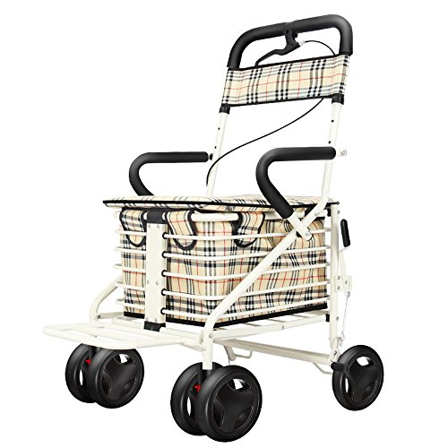 XIHAA Lightweight Folding Aluminum Rollator Walker, Height Adjustable Folding Rollator With handbrake For disabled/Elderly People For Elderly Shopping With Seat and Basket (White)