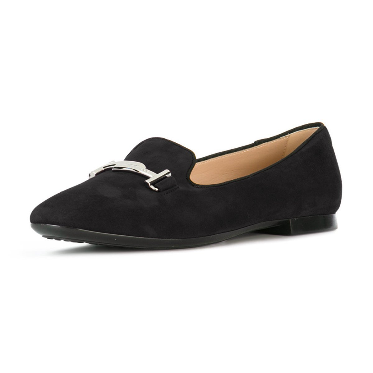 XYD Comfortable Low Heel Slip On Suede Flats Pointed Toe Ballet Loafer Dress Shoes for Women B0794T7R4J 7 B(M) US|Black