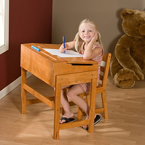 Classic Schoolhouse Home Desk and Chair Set - Beautiful Pecan Finish, Durable All Wood Construction, Flip Top Feature for Additional Storage Space, Easy Learning Tools Organizing + Expert Guide - Classic Pecan Finish