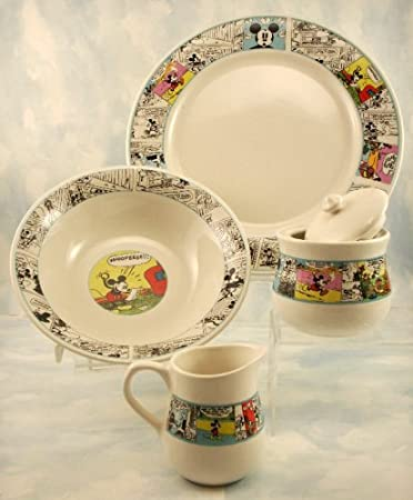 4PC Dinnerware Set Disney Mickey Mouse u0026 Friends & Amazon.com: 4PC Dinnerware Set Disney Mickey Mouse u0026 Friends ...
