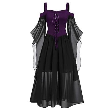 Halloween Mujer Large Size Retro Gótico Cuello Corbata Correas ...
