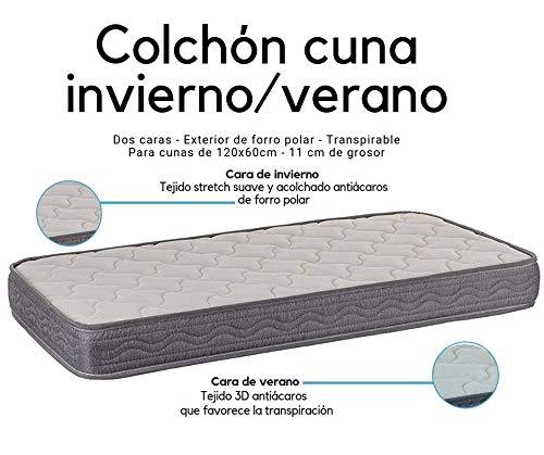 Colchon espuma acolchado Alta Densidad Tejido transpirable 3D Exterior de forro polar Para cunas de 120x60 cm Altura 11 cm Fabricado en España SLEEPAA