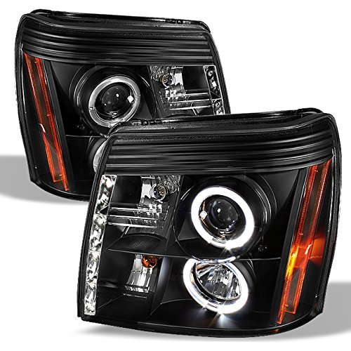 For 02-06 Cadillac Escalade Black Bezel Halo Ring DRL Daylight LED Strip Halogen Type Projector ()