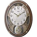 リズム時計 電波掛け時計 スモールワールドプラウドDX メロディアミューズ付き 木目仕上げ 4MN524RH23