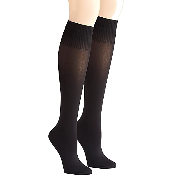 ad699f8a9f90d DKNY Hosiery Rib Opaque Knee High - 2 Pack (DYF015) O/S/Black-Black at  Amazon Women's Clothing store: