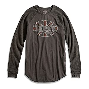 Lucky Brand Men's - Faded Black Oval Triumph Motorcycle Thermal Shirt (Medium)
