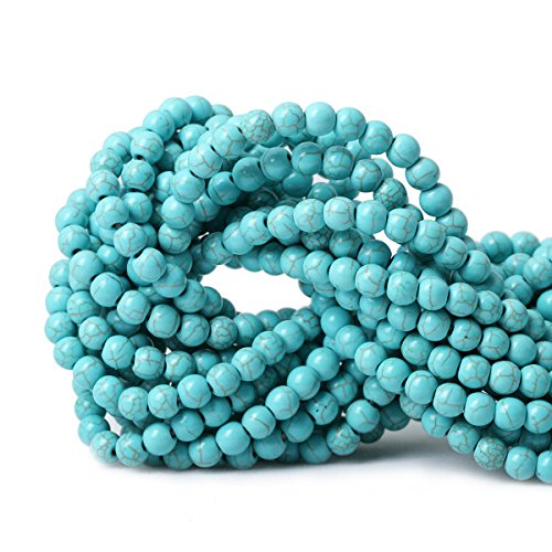 Qiwan 60PCS 6mm Turquoise Gemstone Loose Round Beads Crystal Energy Stone Healing Power for Jewelry Making 1 Strand (Turquoise Round Beads)