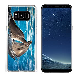 Liili Samsung Galaxy S8 Clear case Soft TPU Rubber Silicone Bumper Snap Cases IMAGE ID: 11036210 Pair of dolphins dancing in light blue water