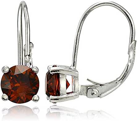 Sterling Silver Birthstone Gemstone 6mm Round Leverback Earrings