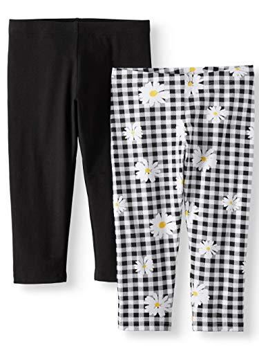 - Wonder Nation Gir'ls Solid & Printed Capri Leggings 2-Pack Set (Black Soot/Gingham, Small (6/6X))