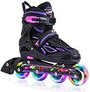 2PM SPORTS Vinal Girls Adjustable Inline Skates with Light up Wheels Beginner Skates Fun Illuminating Roller S