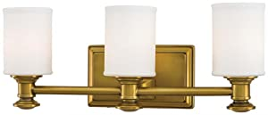 "Minka Lavery Wall Light Fixtures Harbour Point 5173-249 Glass Reversible 300w (7""H x 19""W) Vanity Light in Brass"