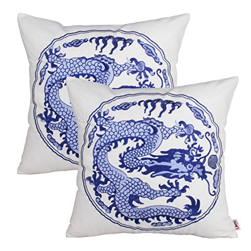 Queenie® - 2 Pcs Traditional Chinese Blue & White Porcelain Series 100% Cotton Embroidered Decorative Pillowcase Cushion Cover Throw Pillow Case 18 X 18 Inch 45 X 45 Cm (2, Dragon)