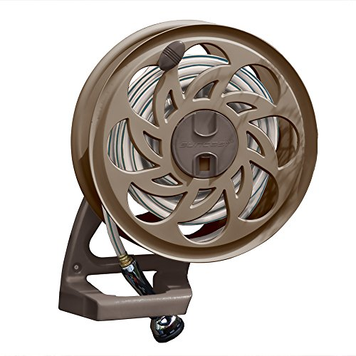 (Suncast Sidetracker Garden Hose Reel with Guide - Fully Assembled Outdoor Wall Mount Tracker with Removable Reel - 125' Hose Capacity - Bronze)