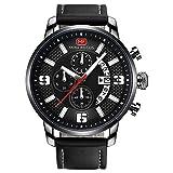 Mini Focus Men Business Watches with Leather Strap Fashion Quartz Analog Wristwatch for Men Gift