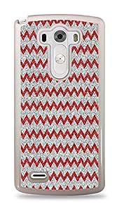 Silver And Red Glitter Chevron Pattern White Hardshell Case for LG G3