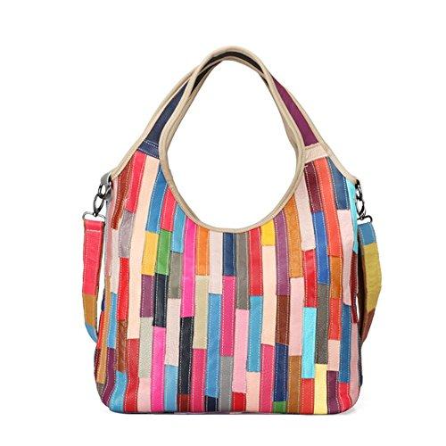leather Multicolour Real Handbags bag Multicolour Shoulder Messenger bag Women's Totes ZxdwUf