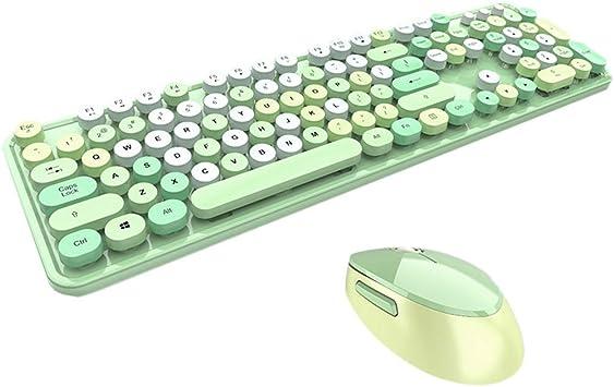 Bonito juego de teclado y ratón de 2,4 GHz inalámbrico portátil universal redondo teclado ergonómico ratón verde verde