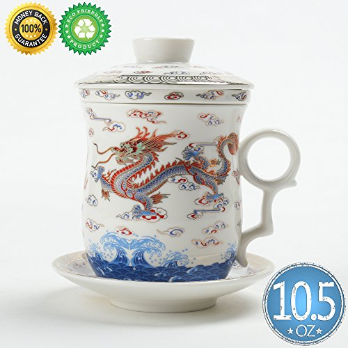 TEA SONG Ceramic Tea-Mug(10.5oz) with Infuser and Lid, Neptune(WD), Teaware with Filter Chinese Dragon, Tea Cup Steeper Maker, Brewing Strainer for Loose Leaf Tea,Diffuser for Lover Gift mother's Day by TEA SONG